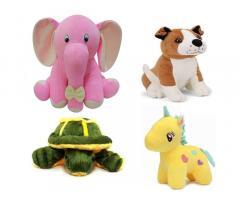 Odin birds Pack of 4 Animals Soft Toy for kids for Playing Elephant, Dog , Tortoise, and Unicorn