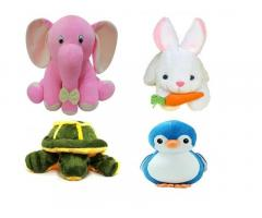 Odin birds Pack of 4 Animals Soft Toy for Kids (Elephant, Tortoise, Penguin, Rabbit)