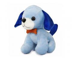 Webby Soft Animal Plush Standing Dog Toy 20cm, Blue